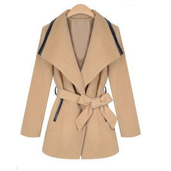 Waist Bow Woolen Lapel Coat