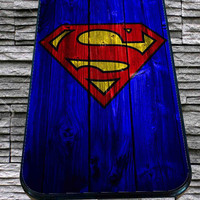 Superman-Logo-on-Wood for iPhone 4/4s/5/5S/5C/6, Samsung S3/S4/S5 Unique Case *95*