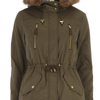 Khaki Check Hood Short Parka Jacket