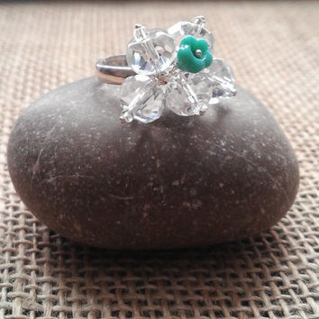 Sterling Silver Ring with Aqua Flower and Clear Faceted Beads Adjustable READY to SHIP