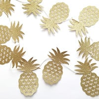 Pineapple Banner - Gold Glitter Pineapple Party Banner - Pineapple Party // Tropical Party Decoration // Luau Party Supplies