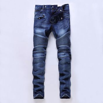 Four seasons can wear High quality men's jeans Casual ripped biker jeans men hiphop pants Straight jeans for men denim trousers