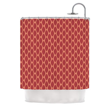 "Nandita Singh ""Marsala & Peach"" Red Pattern Shower Curtain"