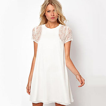 Women's White/Black/Red Lace Dress