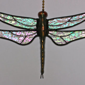 """Stained Glass Dragonfly FAN PULL Suncatcher, """"Stardust"""", Clear Iridescent Wings & Handcast Metal Body ~ Proudly USA Handmade"""