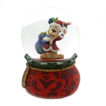 Jim Shore BRINGING HOLIDAY CHEER Glass Santa Mickey Waterball 6001360