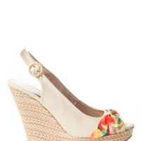 Floral Accent Peep Toe Wedges