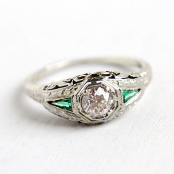 Antique 18K White Gold 1/3 Carat Diamond & Emerald Belais Ring- Vintage Art Deco 1920s Size 8 Filigree Engagement Wedding Fine Jewelry