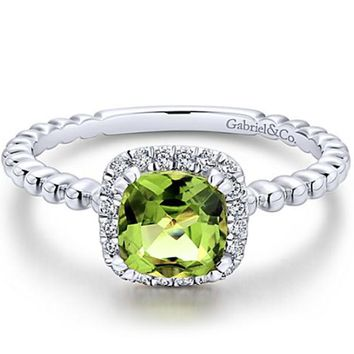 Gabriel Cushion Halo Round Cut Peridot Diamond Ring