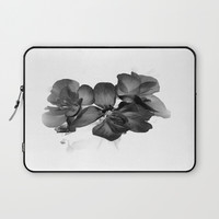 Black Geranium in White Laptop Sleeve by ARTbyJWP