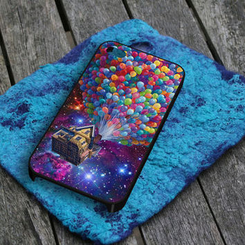 Balloons Flying House in Galaxy Nebula iPhone 5 iPhone 4 / 4S Plastic Hard Case Soft Rubber Case