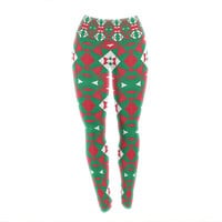 "Empire Ruhl ""Christmas Geo"" Red Green Yoga Leggings"