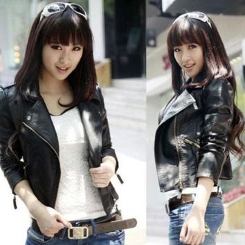 CREYUG3 Women Slim Biker Motorcycle Synthetic Leather Zipper Jacket Black Coat Size XS S M L XL 2XL = 1930519556
