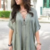Ember Blaze Lace-Up Tunic
