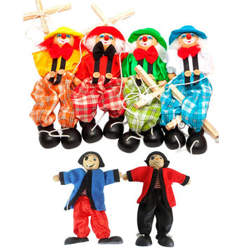 2016 New Funny Toy Pull String Puppet Clown Wooden Marionette Toy Joint Activity Doll Vintage FCI#