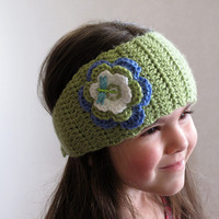 Crocheted Head Wrap with Flower and Dragonfly