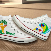 Hand Painted, Brasil 2014 FIFA World Cup Converse Shoes