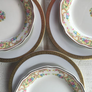 2 Vintage antique mismatched china salad / dessert plates for weddings, tea parties, bridal luncheons, showers, floral and gold trim plates