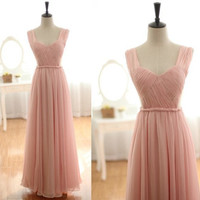 WowDresses — Enhancing Pearl Pink A-line Straps Neckline Floor Length Prom Dress