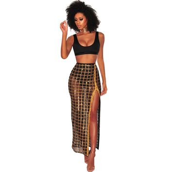 Sexy Women Two Piece Set Crop Bra Top Sheer Mesh Sequin Plaid Split Skirt High Waist Vest Skirt Set Party Nightclub Outfit Black