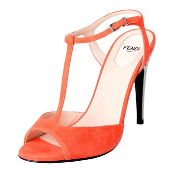 Fendi Women's Suede Open Toe T-Strap High Heels Sandals Shoes