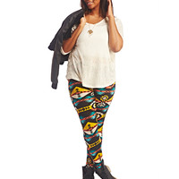 Bright Aztec Print Leggings | Wet Seal+