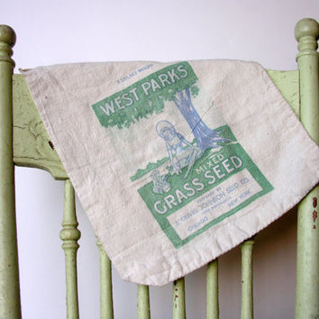 Vintage Seed Bag Fabric Grass Seed Sack Spring Green Graphics for Home and Garden Decor