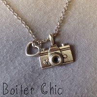 Camera and Heart Charm Necklace