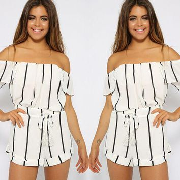 MDIGCY2 HOT OFF SHOULDER STRIPE ROMPER