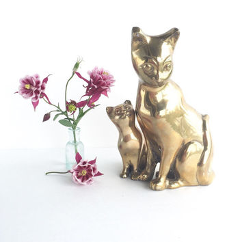 Vintage Brass Cat Pair, Vintage Brass Cat and Kitten Figurine