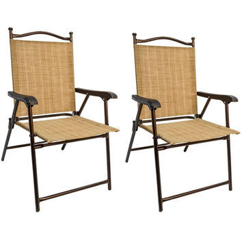 Set Of 2 Sling Back Folding Outdoor Patio Bistro Chairs