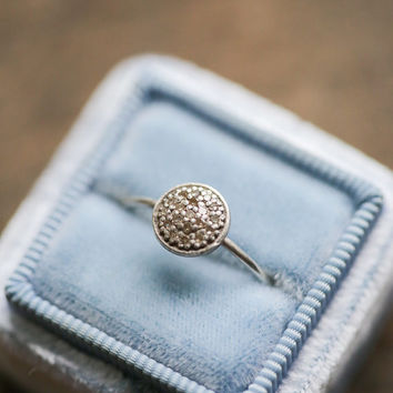 14k White Gold Ring, Thin Stacking Ring, Delicate Engagement Ring, Modern Engagement Ring, Raw Diamond Ring, Stacking Engagement Ring