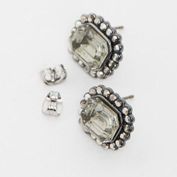 Izoa Rhodium Black Diamond Dynasty Studs