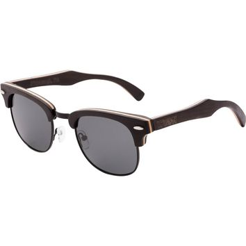 Men's & Women's Black Handcrafted Vintage Wood Clubmaster Sunglasses - Black Polarized Lenses
