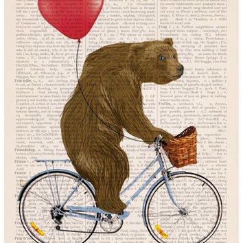 Bear art, Grizzly bear riding a bike poster ,Eco friendly art, Nursery Wall decor,  funny poster, Giclee poster, Animal art print  BPAN222P