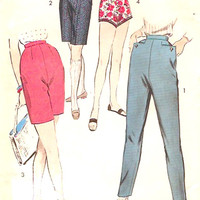 50s tapered pants stovepipe style pant bermuda and Jamaican shorts vintage sewing pattern Advamce 8341 midcentury style Waist 28