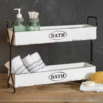 White Enamelware Bathroom Two Tier Bath Caddy Storage Display Bins
