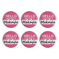 Makayla Hello My Name Is Plastic Resin Button Set of 6