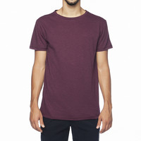 Plain Organic Cotton Slub Crew Neck Tee Bordeaux