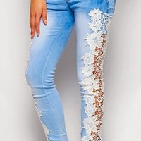 Blue Floral Pattern Crochet Denim Jeans