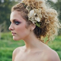 Rustic bridal halo, weddings, barn wedding, floral crown, rustic wedding, crown, wreath, ivory flower, burnt edges