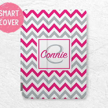 iPad Smart Cover, colorful Chervon Monogram Initial custom name case for iPad Air, iPad Air 2 personalized case