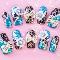 Cute Blue Leopard 3D false fake press-on nail art 3D nails Super glam bling