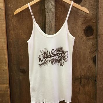 Wildflowers Sissy Tank White/Brown | Bandit Brand General Store