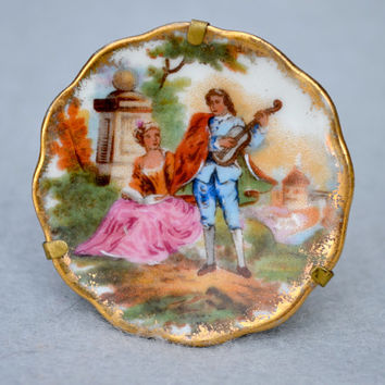 Limoges Vintage Mini Plate in Holder to Stand or Hang