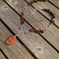 Gypsy Fire beaded necklace, one of a kind, fire agate, amber, tiger eye, sterling silver