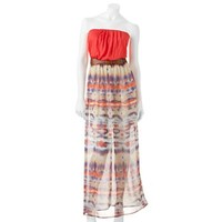 Lily Rose Abstract Chiffon Maxi Strapless Dress - Juniors