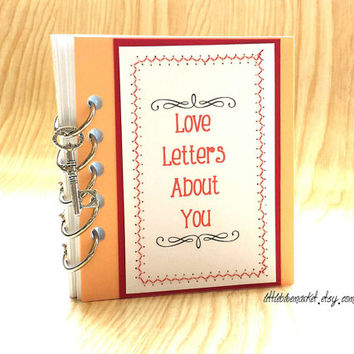 Love Letters About You Handmade Mini Album Scrapbook Smash Book Journal Special Engagement Wedding Deployment Birthday Gift