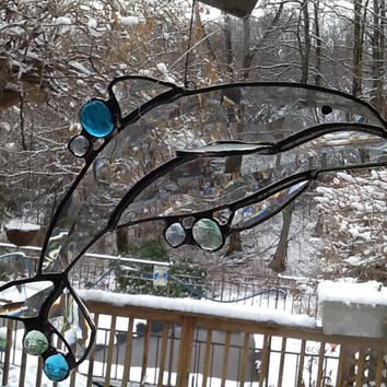 OOAK Bevel Clear and Blue 3D Dolphin (Stained Glass)