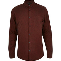 River Island MensOrange brushed cotton long sleeve shirt